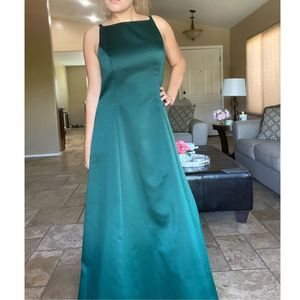 Vintage Betsy & Adam Emerald Green Satin Gown
